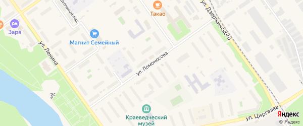 Улица Ломоносова на карте Мирного с номерами домов