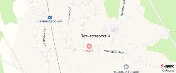 Железнодорожная улица на карте Летнеозерского поселка с номерами домов