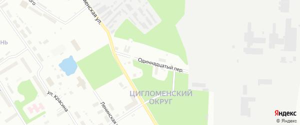 Одиннадцатый переулок на карте Архангельска с номерами домов