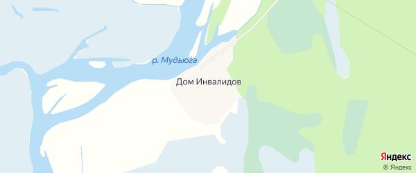 Карта поселка Дома Инвалидов в Архангельской области с улицами и номерами домов