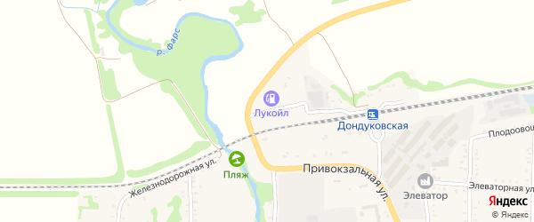 Железнодорожная улица на карте Дондуковской станицы с номерами домов