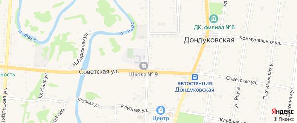 Школьная улица на карте Дондуковской станицы с номерами домов
