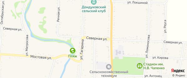 Северная улица на карте Дондуковской станицы с номерами домов