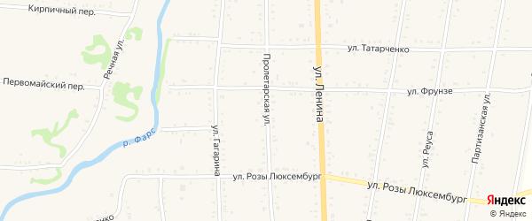 Пролетарская улица на карте Дондуковской станицы с номерами домов