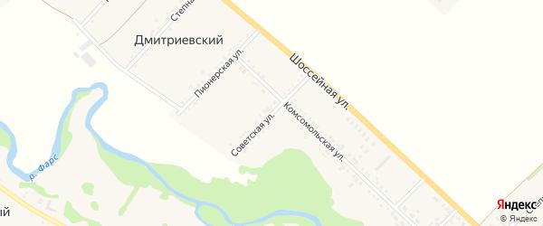 Советская улица на карте Дмитриевского хутора с номерами домов