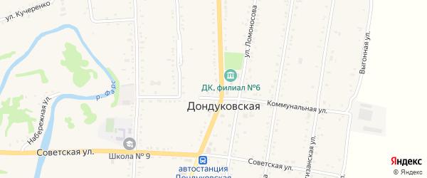 Прямая улица на карте Дондуковской станицы с номерами домов