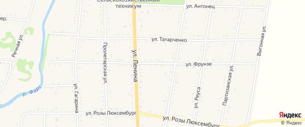 Улица Фрунзе на карте Дондуковской станицы с номерами домов