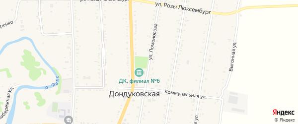 Улица Ломоносова на карте Дондуковской станицы с номерами домов
