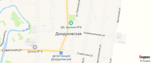 Коммунальная улица на карте Дондуковской станицы с номерами домов