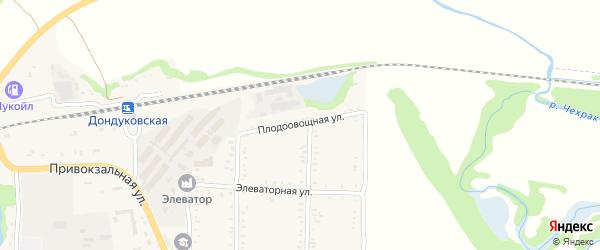 Плодоовощная улица на карте Дондуковской станицы с номерами домов