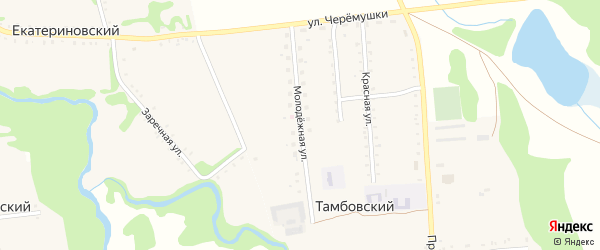 Молодежная улица на карте Тамбовского хутора с номерами домов
