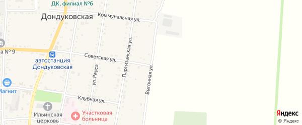 Выгонная улица на карте Дондуковской станицы с номерами домов