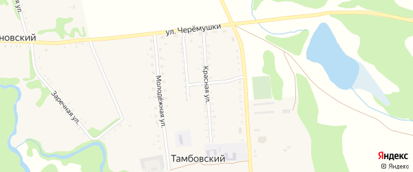 Красная улица на карте Тамбовского хутора с номерами домов