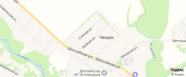 Зеленая улица на карте поселка Чехрака с номерами домов