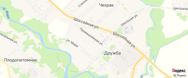 Промышленная улица на карте поселка Дружбы с номерами домов