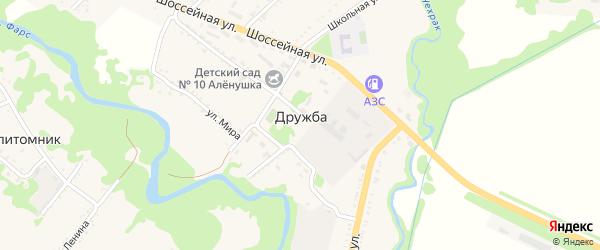 Шоссейная улица на карте поселка Дружбы с номерами домов