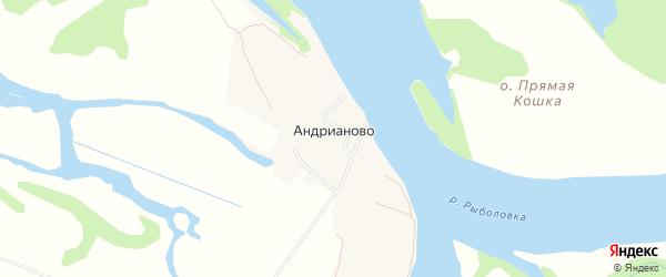 Карта деревни Андрианово в Архангельской области с улицами и номерами домов