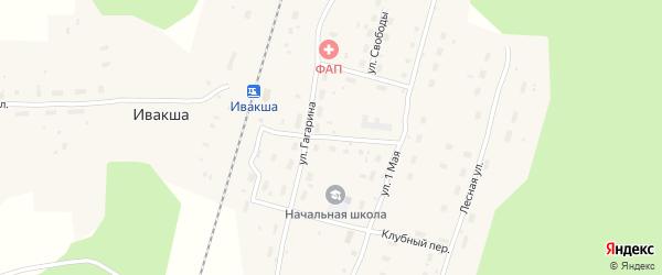 Школьный переулок на карте поселка Ивакши с номерами домов