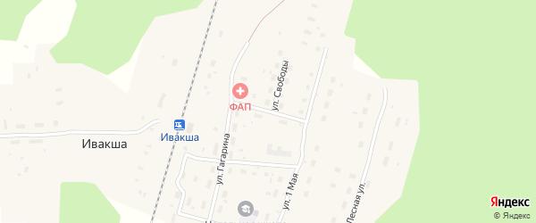 Безымянный переулок на карте поселка Ивакши с номерами домов