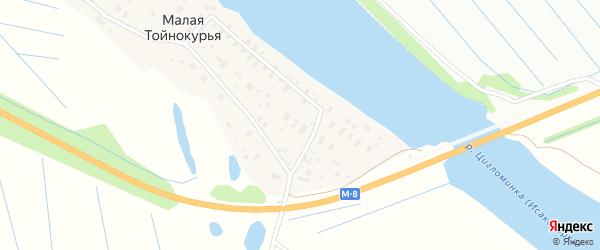 Прибрежная улица на карте Малой Тойнокурьи деревни с номерами домов