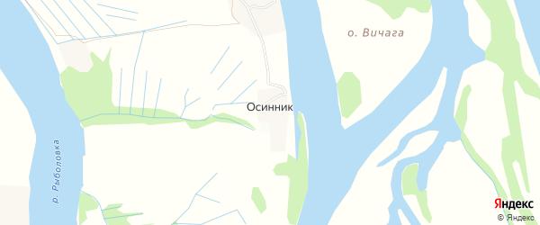 Карта деревни Осинника в Архангельской области с улицами и номерами домов