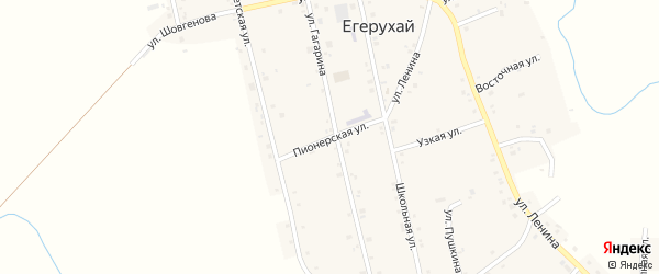 Пионерская улица на карте аула Егерухай с номерами домов