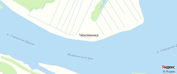 Карта деревни Чекоминка в Архангельской области с улицами и номерами домов