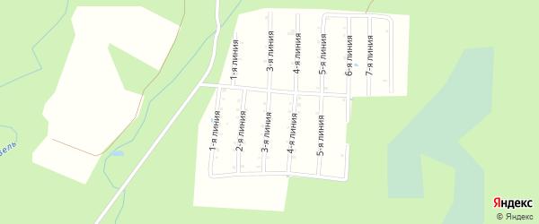 Улица 4-я линия на карте садового товарищества СОТ Железнодорожника с номерами домов