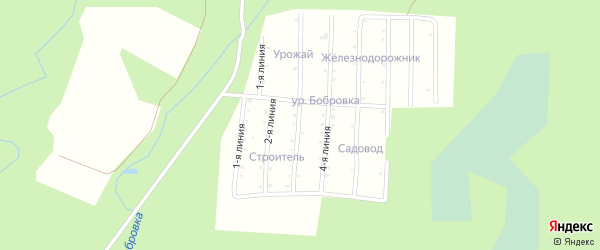 Улица 2-я линия на карте садового товарищества Строителя с номерами домов