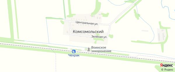 Зеленая улица на карте Комсомольского поселка с номерами домов