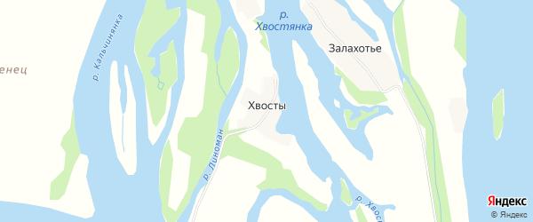 Карта деревни Хвостов в Архангельской области с улицами и номерами домов