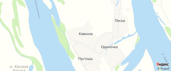 Карта деревни Кавкола в Архангельской области с улицами и номерами домов