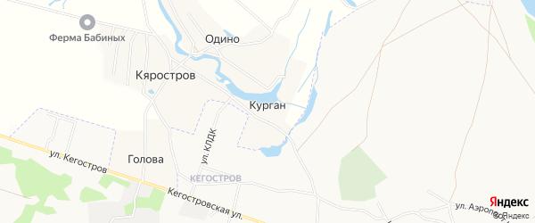 Карта деревни Кургана в Архангельской области с улицами и номерами домов