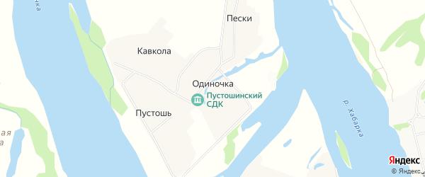 Карта деревни Одиночки в Архангельской области с улицами и номерами домов