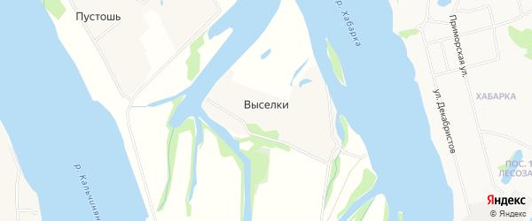 Карта деревни Выселков в Архангельской области с улицами и номерами домов