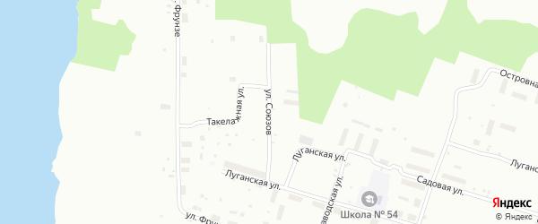 Улица Союзов на карте Архангельска с номерами домов