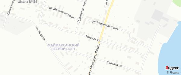Мирная улица на карте Архангельска с номерами домов