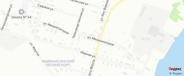 Улица Механизаторов на карте Архангельска с номерами домов