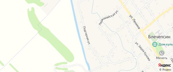Подгорная улица на карте аула Блечепсин с номерами домов