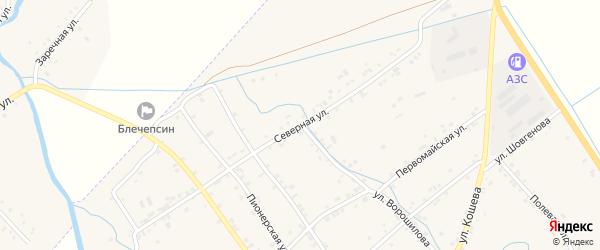 Улица Мархаба Кушхова на карте аула Блечепсин с номерами домов