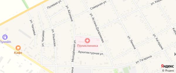 Больничный переулок на карте аула Кошехабль с номерами домов