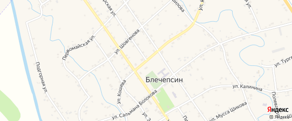 Пионерская улица на карте аула Блечепсин с номерами домов