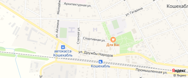 Спортивная улица на карте аула Кошехабль с номерами домов