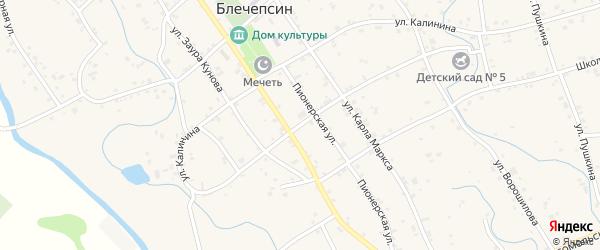 Улица Мусса Шикова на карте аула Блечепсин с номерами домов