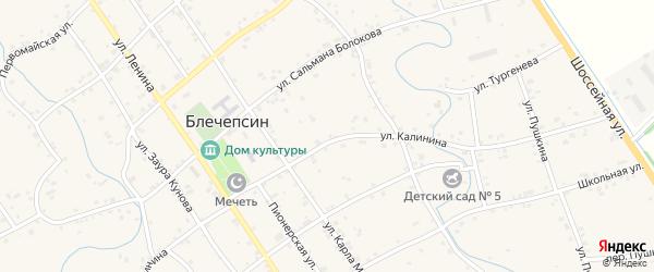 Южная улица на карте аула Блечепсин с номерами домов