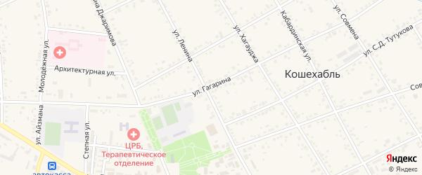 Улица Гагарина на карте аула Кошехабль с номерами домов