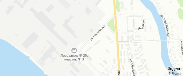 Улица Родионова на карте Архангельска с номерами домов