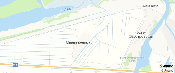 Карта деревни Малой Хечемени в Архангельской области с улицами и номерами домов