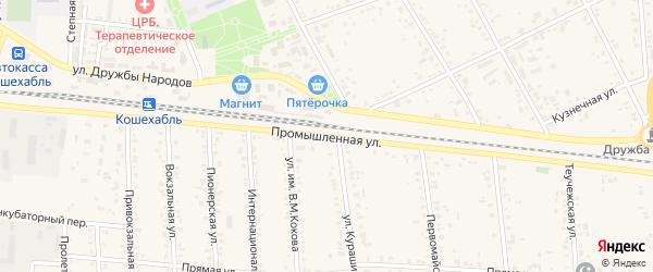 Промышленная улица на карте аула Кошехабль с номерами домов