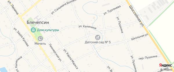 Улица Ворошилова на карте аула Блечепсин с номерами домов